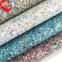 54/55'' Width and Knitted Backing Technics Shoe 3D Chunky Glitter Leather Fabric