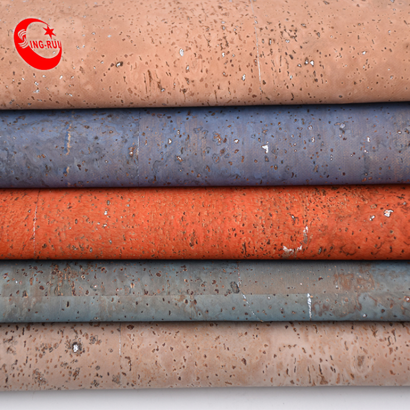 Colored Cork Fabric Rainbow  Cork Leather Fabric