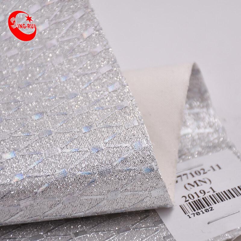 2019 high quality Metal quadrilateral printing glitter fabric