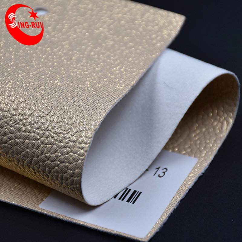Classic Metallic Stamping Foiled Lichi embossed Pu Faux Leather for shoes