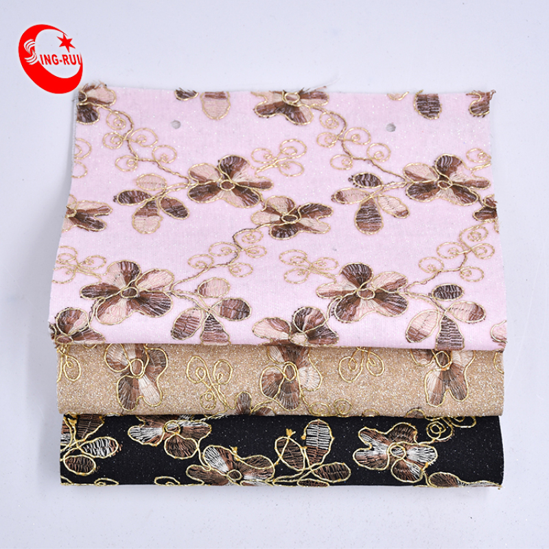 Fashion Lace Embroidery Fabric Glitter Sparkling Pu Leather Shoe Materials Manufacturers Stock For Bags Decoration