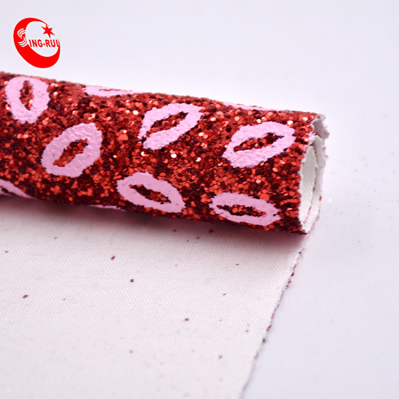 shinning  style  Pink lip Glitter Fabric for shoes