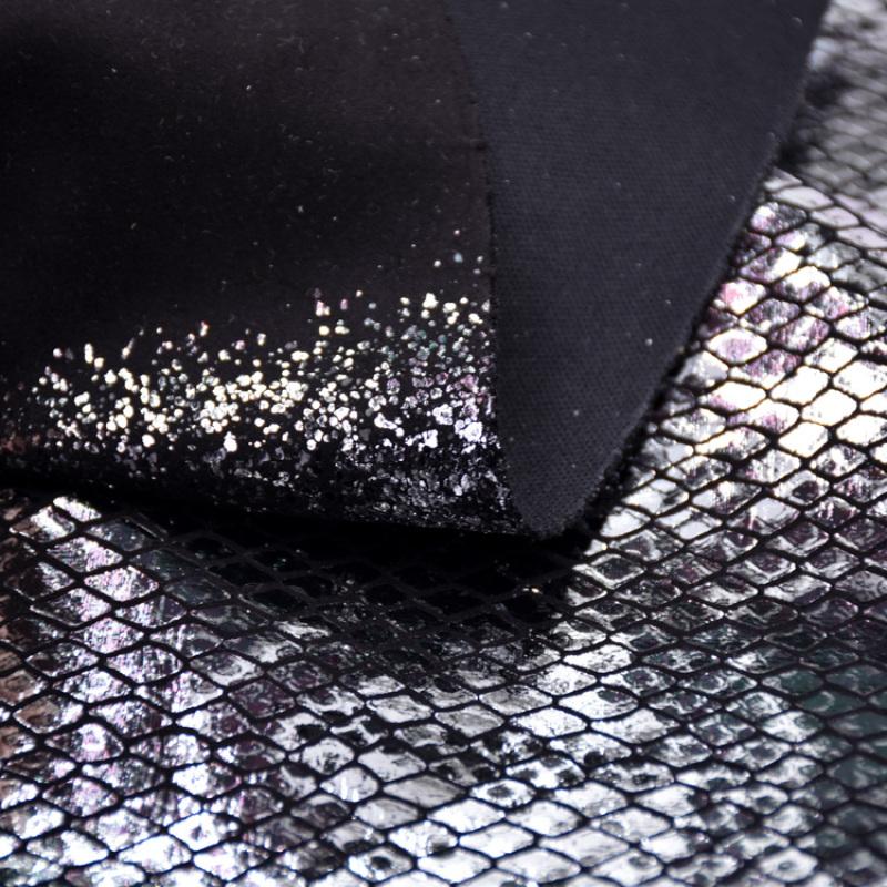 Cheap Fabric Manufacturer Custom Stock 100 Polyester Knitted Snake Skin Material Fabric Upholstery Bag Shoe