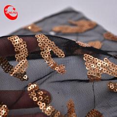 Оптовая торговля индивидуальной прозрачной прозрачной сеткой с бахромой и градиентом из тюля и кружева с черными блестками, ткань для свадебного платья