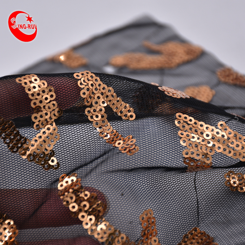 Wholesale Customized Transparent Clear Mesh Glitter Fringe Gradient Tulle Lace Black Sequins Fabric For Dress Garment Wedding