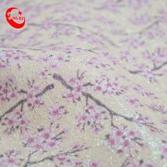 Цветочный узор персика на заказ с цветочным принтом из искусственной кожи с блестками, тканая ткань для сумок, украшение для обуви, настенная бумага