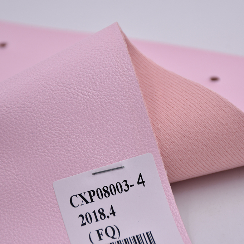 Pink Litchi Embossed Pattern Pu Synthetic Leather For Woman bag