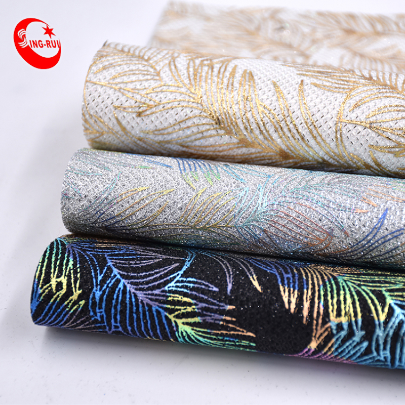 Advanced Customization Material Luxury Color Feather Embossed Pattern Glitter Pu Leather For Decoration Shoes Bags