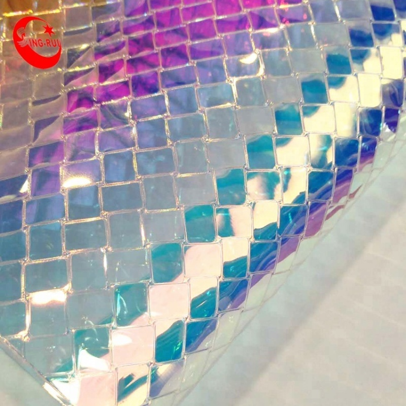 Summer hot Artificial leather Iridescent Transparent TPU Film Leather Vinyl for Making Shoes