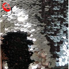 Оптом Блестящая двусторонняя ткань с пайетками