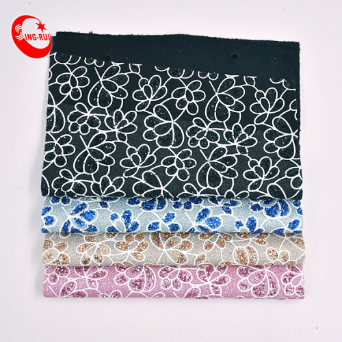 Customizable Chunky Glitter Leather Fabric Roll Embroidery Flower Sequin Fabric Leather For Making Shoes Bag
