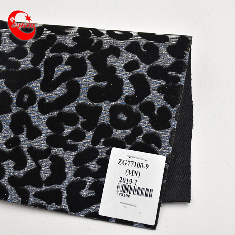 Fashion Flocking Printed Leopard Wallpaper Glitter Pu Leather Fabric Wholesal For Bags Shoes Decorative Materials