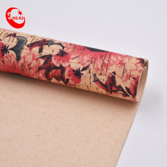 Portugal Eco-Friendly Portugal Textile Pu Natural Printed Cork Fabric With Flower Martindale Abrasion 5000 Times
