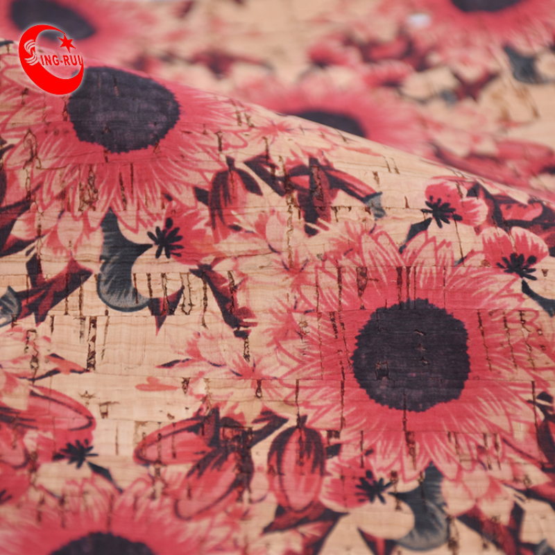 Popular Hot Design Customize Pattern Portugal Natural Printed Flower Cork Fabric No Harmful To Human Body