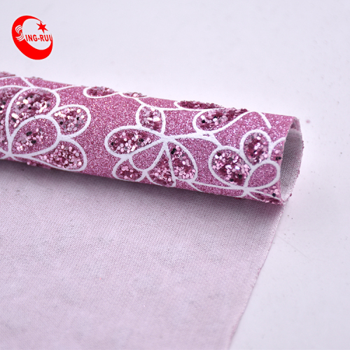 Shiny Sparkly Fine Knitted Flower Embroidery Sequin Fabric Glitter Faux Leather Sheets For Bags Decoration