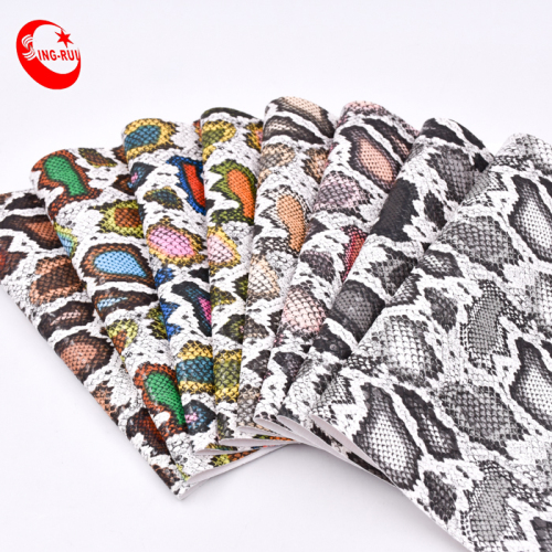 Artificial PU Snake Skin Leather Manufacturer for shoes
