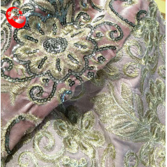 Popular Sequin Machine Embroidery Velvet Fabric for Shoe Material