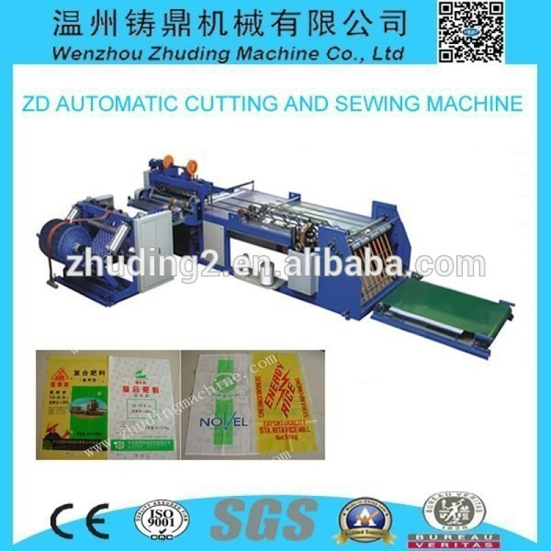 Hot sale automatic PP woven cutting and bottom sewing machine
