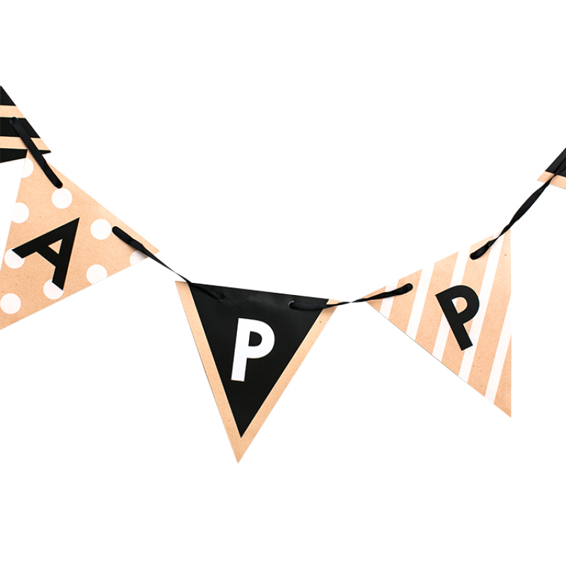 Multicolor pennant decoration large opening banner rope happy birthday banner lattice pull flag decoration