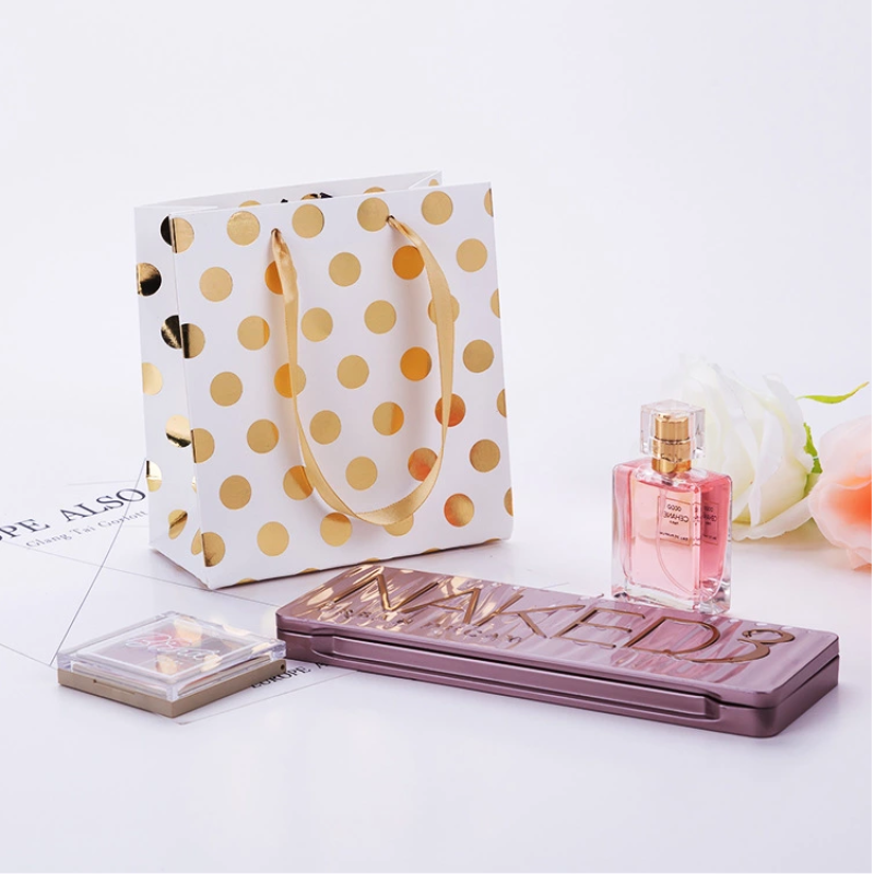 Bolsa De Regalo Custom Hot Stamping Print Glitter Gift Shopping Paper Bag With Handle For Makeup Packing