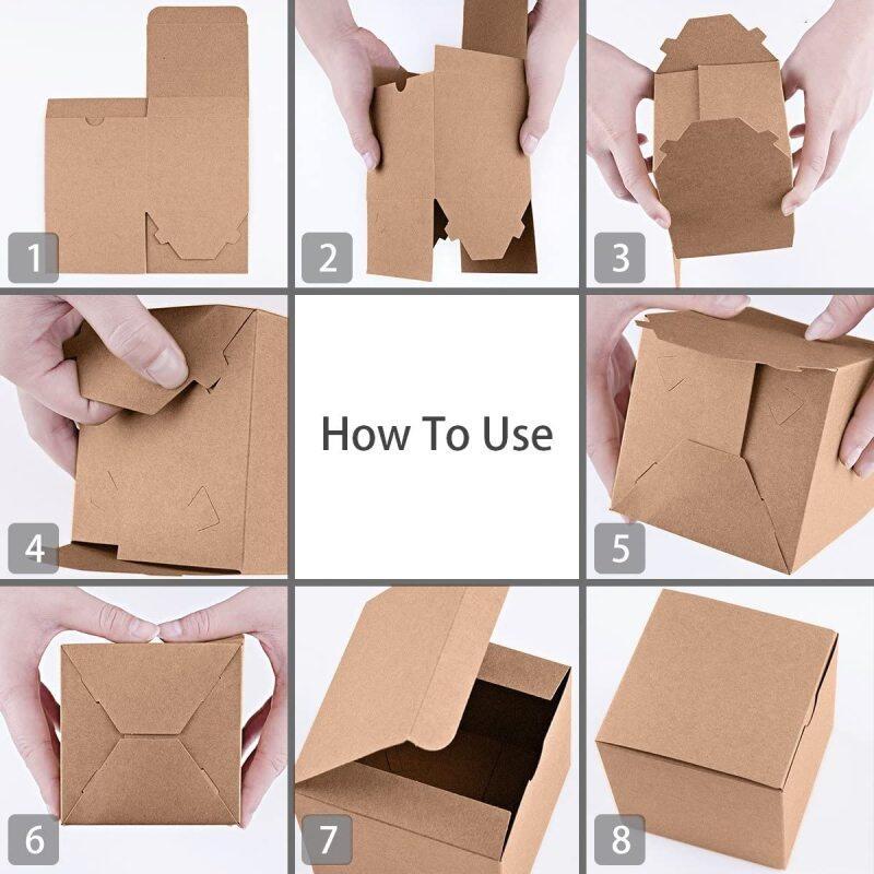 Custom size logo printing disposable kraft paper takeaway carton cake box paper lunch box