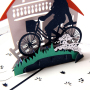 3D Handmade Riding A Bike DIY Paper Greeting Cards Happy Father's Day Paper Gift Cards With Envelope