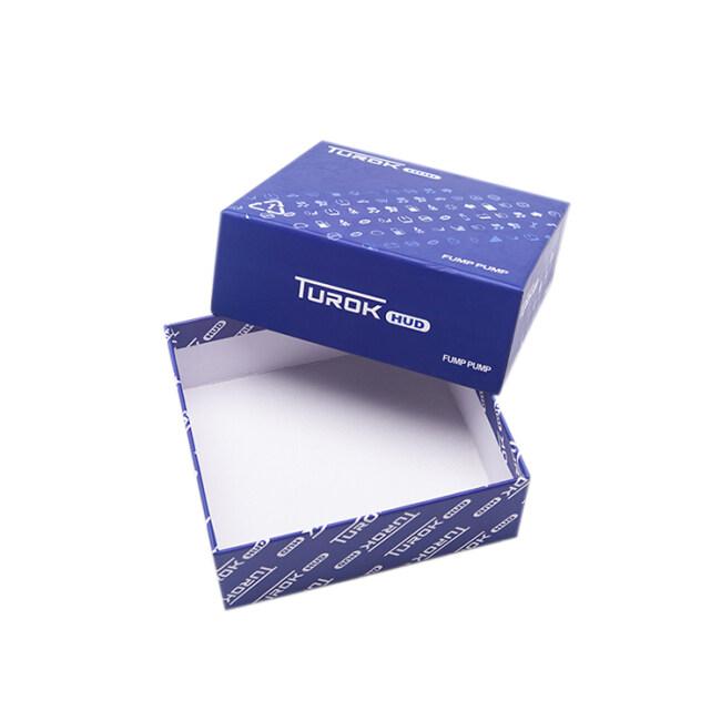 Wholesale Luxury Custom Logo Cardboard Blue Packaging Sleeve Cover and Base Gift Box