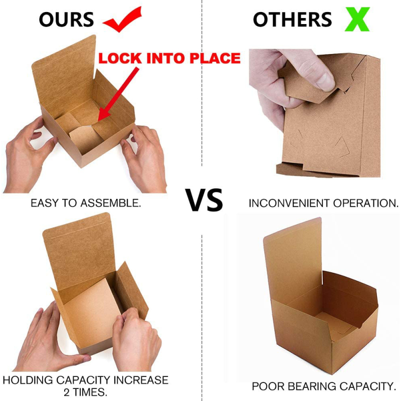 Theme party high quality rectangular kraft paper gift box cupcakes with lid paper box