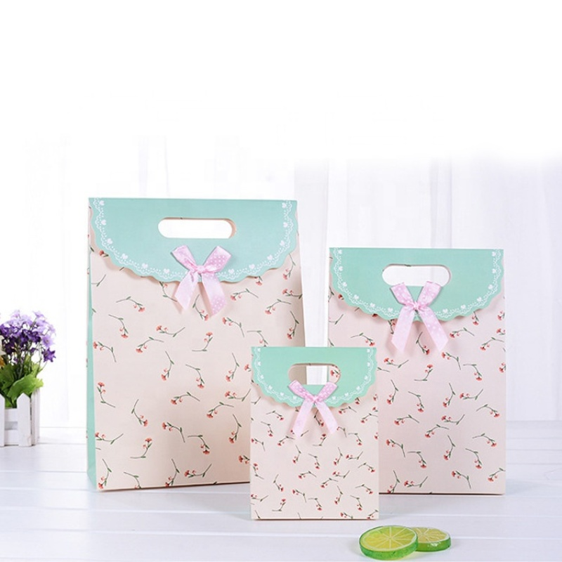 Bolsa De Regalo Small Customized Paper Gift Shopping  Bags  Wedding Candy Packing Bag With Ribbon