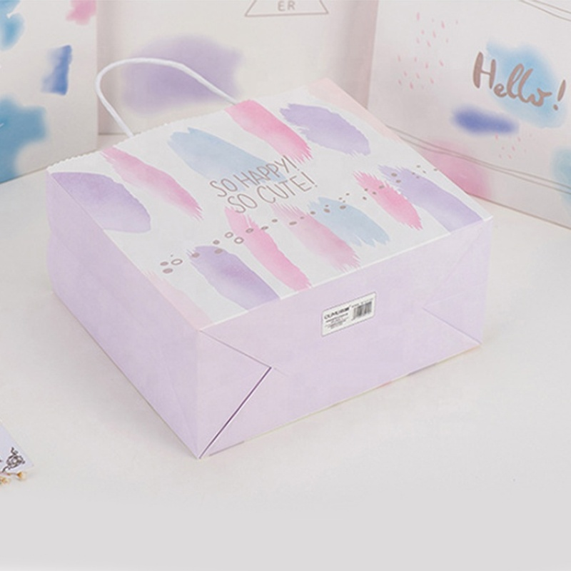 Custom colorful paper gift bag with paper rope