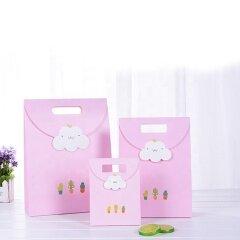 Sacola De Presente Custom Bow Tie Birthday Small Gift Bag Portable Paper Shopping Bag With Ribbon For Wedding