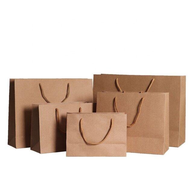 Multiple size print gift khaki paper shopping bag