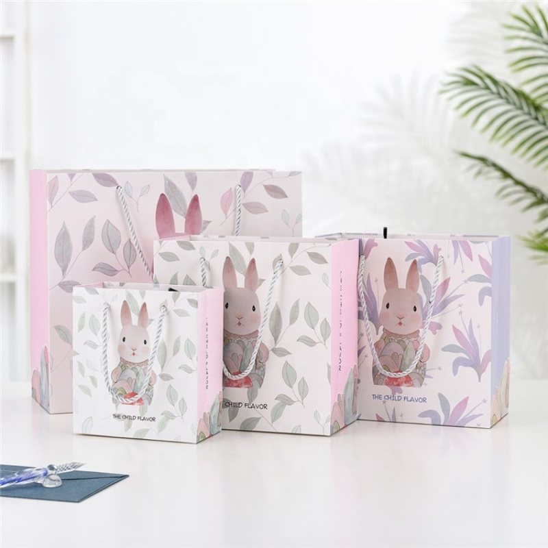 Customized paper lining shopping paper gift bag pink