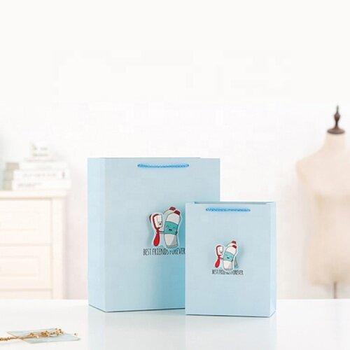 Customized blue shopping 3d gift logo paper bag