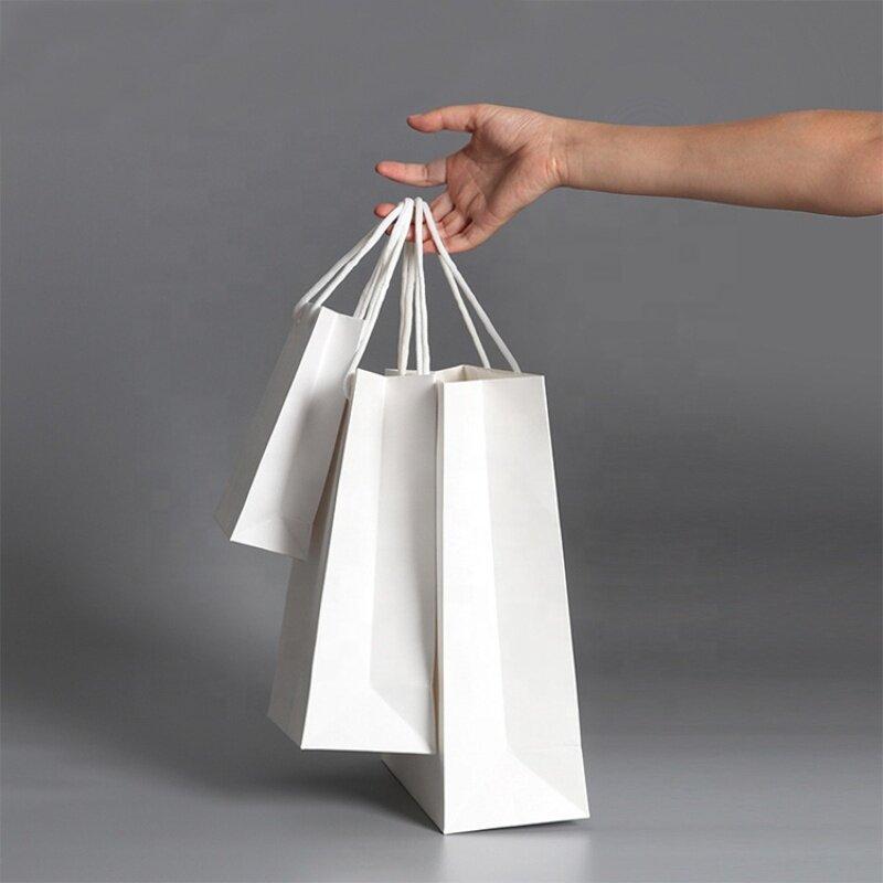 Multiple use gift white paper bag shopping