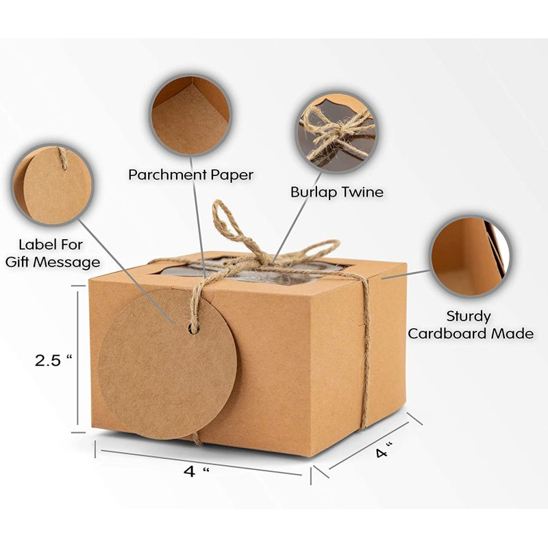 Carnival event elegant pastry gift box with transparent window DIY personalized kraft paper box