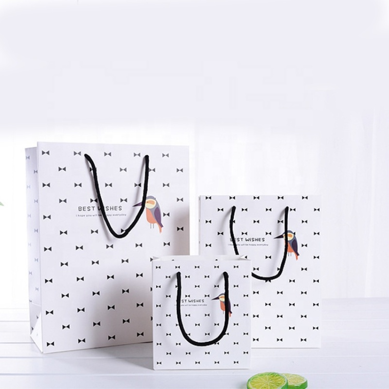 Custom size white paper gift bag with black rope
