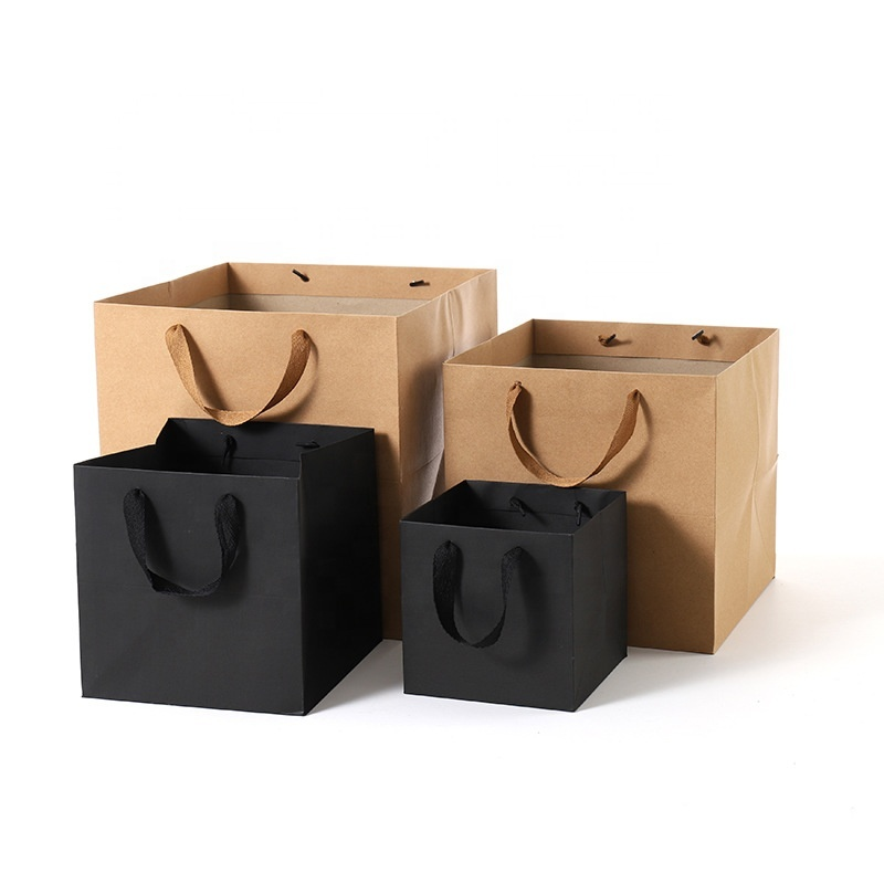 Fancy brown square eco friendly gift paper bag