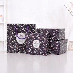 Wholesale custom size floral large bag paper kraft box set