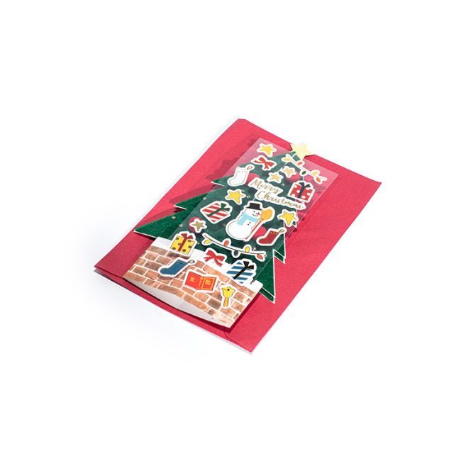 Christmas card with envelope red plaid design Christmas cards that men and women like