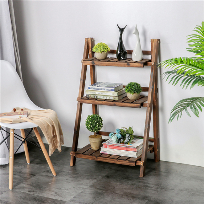 3 Tier Folding Wooden Plant Stand Wood Organizer Flower Pot Stand Plant Display Shelf Rack Ladder Garden Indoors Outdoors