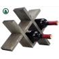 Vintage Gray Wood 4-Bottle Countertop Wine Storage Rack