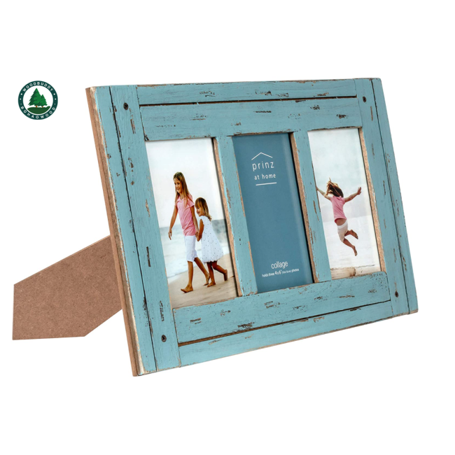 Homestead 4-Inch by 6-Inch Distressed Wood Collage Picture Frame for Three Photos, Blue