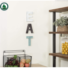 Rustic Multicolor Cutout Wooden EAT Letters, Wall Mounted Decorative Signs