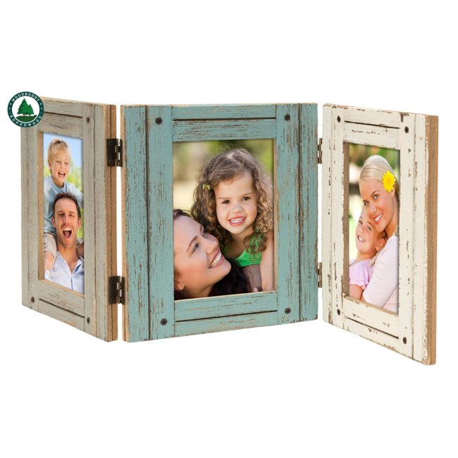 Hand Painted Rustic Three Picture Frame: Holds Three 4x6 Photos