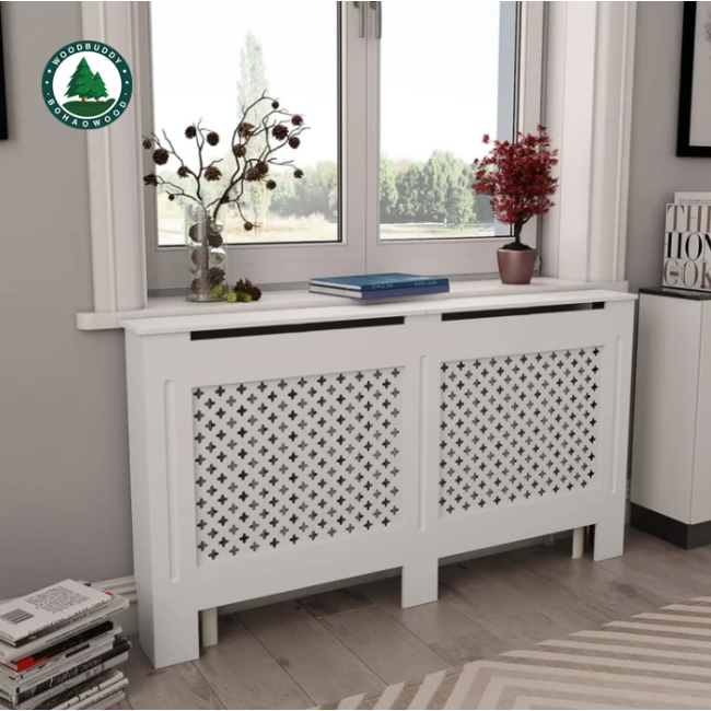 Heating Protection Fence, Home Heating Fence, Anti-Scald Modern Radiator Cover Cabinet Top Shelving Home Office Radiator Cabinet MDF White 112x19x81.5 cm