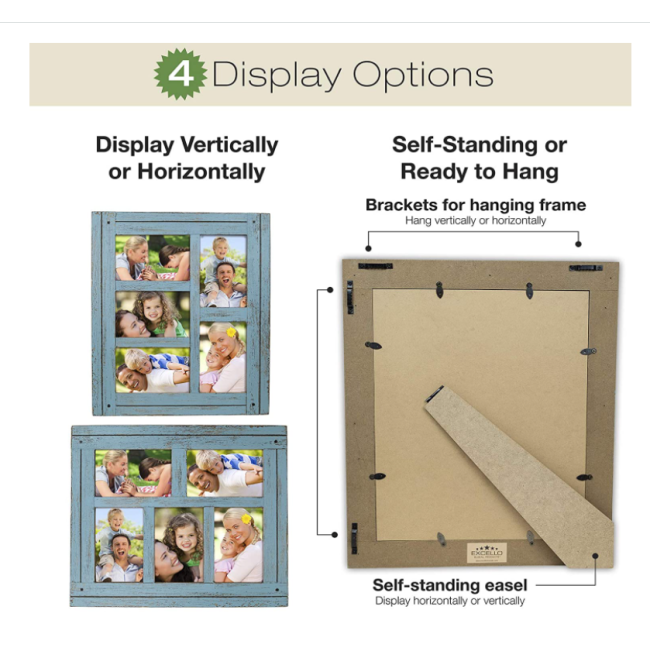 Collage Picture Frames from Rustic Distressed Wood: Holds Five 4x6 Photos