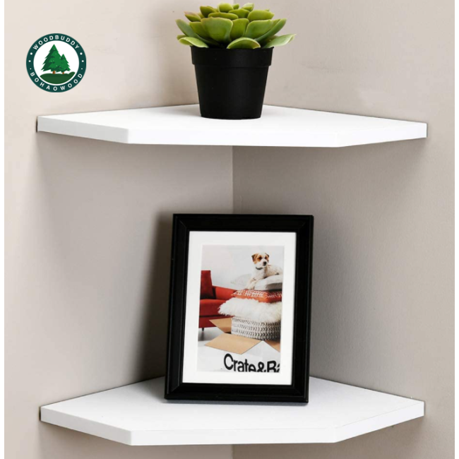12-Inch Floating Corner Shelves Set of 2, Wall Mounted Storage Shelf with White Finish for Bedroom, Living Room, Bathroom, Display Shelf for Small Plant, Photo Frame, Toys and More