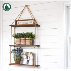 Wall Hanging Shelf - Wood Hanging Shelves for Wall - Farmhouse Rope Shelves for Bedroom Living Room Bathroom - Rustic Wood Shelves - Hanging Plant Shelf - Triangle Floating Shelf (Triangle Mount)