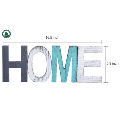 Rustic Wood Home Sign, Decorative Wooden Block Word Signs, Freestanding Wooden Letters, Rustic Home Signs for Home Decor, 16.5 x 5.9 Inch, Multicolor